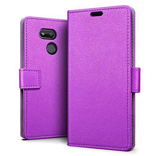 SLEO Hülle für HTC Desire 12s,PU Leder Case Cover Tasche Schutzhülle Flip Case Wallet im Bookstyle für HTC Desire 12s Hülle- Lila