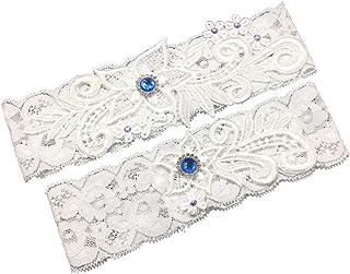 66fcd4d20ff436 Unibuy Wedding Lace Garter Set with Blink Rhinestone Add Navy Blue Pearl(Pretty  Box Something