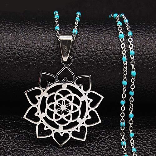 Dfgh Flower of Life van edelstaal ketting Vrouwen Zilveren ketting in kleur Jewelry (Metal Color : 50CM BLUE O)