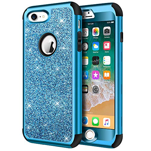 iPhone 8 Case, iPhone 7 Case, Hython Heavy Duty Full-Body Defender Protective Case Bling Glitter Sparkle Hard Shell Armor Hybrid Shockproof Rubber Bumper Cover for iPhone 7 and iPhone 8, Blue