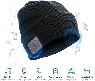 Bluetooth Beanie Hat BCELIFE Wireless 4.0 Hands-Free Knit Music Cap with HD Stereo Speaker Headphone Headset Earphone Mic Rechargeable USB for Winter Fitness Outdoor Sports &Christmas Gifts(Black)