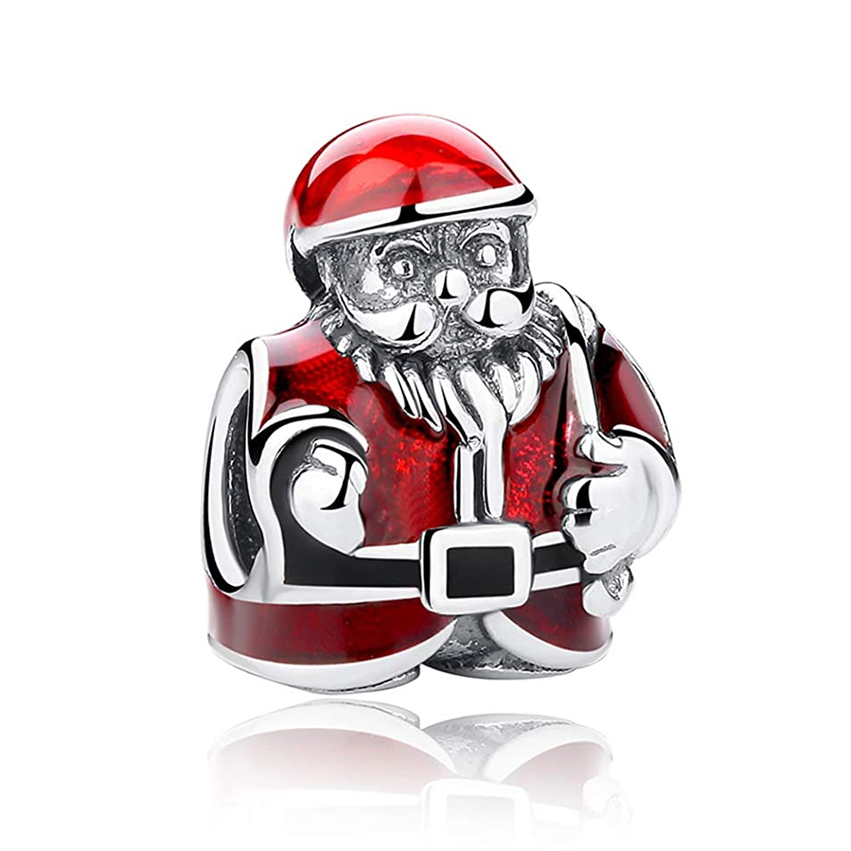 Beauty Xmas Santa Claus Charm 925 Sterling Silver Christmas Gift Bead for Unisex Gift Fit Necklace and Bracelet iamnawxv1758