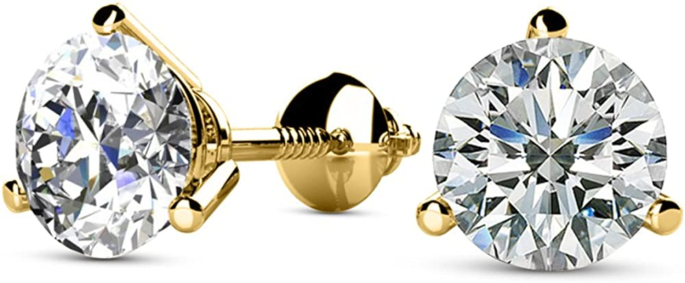 Natural Round Brilliant Solitaire Diamond Stud Earrings for Women 3 Prong Martini Cocktail Screw Back (I-J Color I1 Clarity)