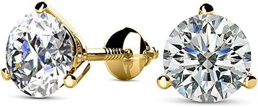 1/4-2 Carat Total Weight Round Diamond Stud Earrings 3 Prong Martini Screw Back (K-L Color I1-I2 Clarity)