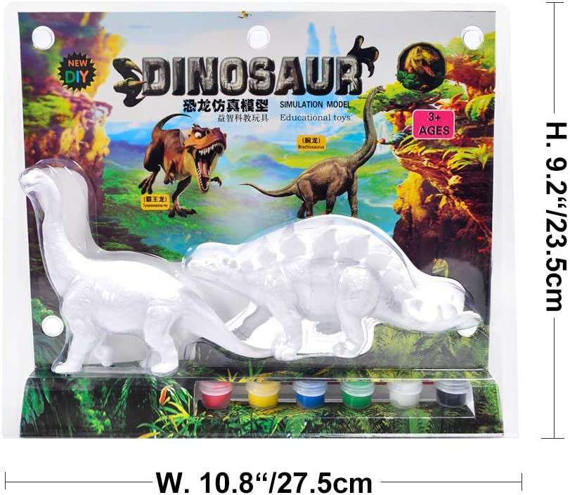B AINOLWAY 3D Painting Dinosaurs for Kids DIY Graffiti Toys Decorate Your Own 2 Solid-Resin Dinosaur Arts Crafts