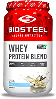 BioSteel Whey Protein Blend Powder Grass Fed with Whey Isolate, Whey Concentrate, Whey Hydrolysate, Vanilla, 725 Gram