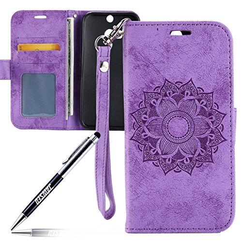 Kompatibel mit HTC ONE M8 Hülle,HTC ONE M8 Tasche,JAWSEU Lederhülle für HTC ONE M8 Handyhülle Wallet Hülle Flip Hülle Brieftasche,Mandala Blumen Muster PU Leder Tasche Flip Hülle Lila