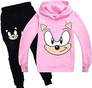 Sudadera con capucha y pantalones de sónica ropa deportiva para niños chándal de las niñas lindo dibujos animados estampad...