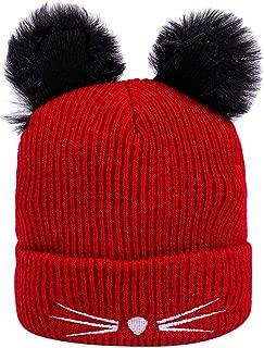 Sombreros de Invierno Cálida Suave con Pompón Gorros de Punto Diadema Beanie Salvaje Simple Casuales Gorras para Mujer Tamaño Universal Fannyfuny