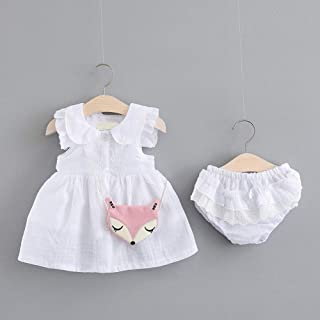 TZOU Girl Children Kids Cotton Lapel Sleeveless Dress with Lovely Small Underwear Two Piece Suit Outfit White 70cm