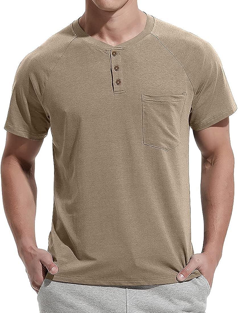NITAGUT Men's Summer Casual T-Shirts Front Short Raglan New mail order 5 ☆ popular Placket
