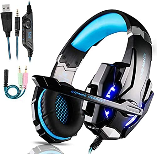 Micro Casque Gaming PS4, Casque Gaming Switch avec Micro Anti Bruit Casque Gamer Xbox One Filaire LED Lampe Stéréo Ba...