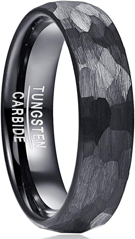 Vakki 4mm/6mm/8mm Hammered Tungsten Rings for Men Women Domed Faceted Wedding Engagement Bands Black Brushed Comfort Fit Size 5-12