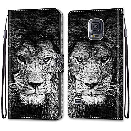 JMTALL Custodia per Samsung Galaxy S5 Flip Cover Libro Magnetica Portafoglio con Disegni Leone Supporto Stand Slot per Schede Cover Protettiva for Galaxy S5/S5 Neo