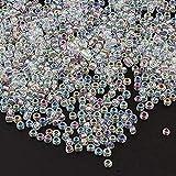 3300 unidades de cuentas de cristal de 3 mm, transparentes, juego de colores arcoíris 8/0, perlas de pony, perlas transparentes, pequeñas para niños, cuentas divertidas, colores a elegir (blanco AB)