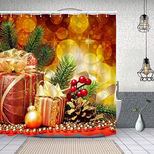Cortina Baño,Abeto de Navidad con Regalos y decoración navideña,Cortina de Ducha Tela de Poliéster Resistente Al Agua Cortinas de Ducha Baño con 12 Ganchos,150x180cm