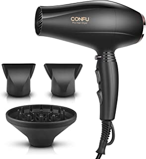 Professional Salon Hair Dryer, CONFU 1875W Negative Ionic Fast Drying Blow Dryer, AC Motor Low Noise Hair Blow Dryer with Diffuser & 2 Concentrator Nozzles