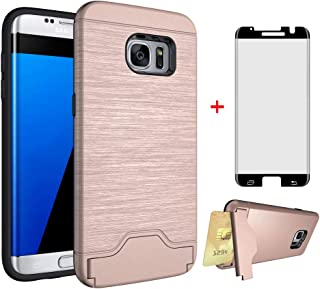 Phone Case for Samsung Galaxy S7 Edge with Tempered Glass Screen Protector Cover and Credit Card Holder Cell Accessories Stand Slim Hard Wallet Glaxay S7edge S 7 Plus 7s 7edge Cases Women Rose Gold