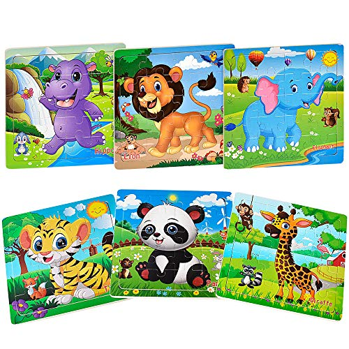 Puzzles for Kids Ages 3-5 Toddler Puzzles Set 20 Piece Wooden Jigsaw Puzzles for Toddler Children Learning Puzzles Set for Boys and Girls (6 Puzzles)