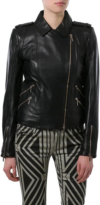 Women Lambskin Motorcycle Biker Leather jacket KLW020