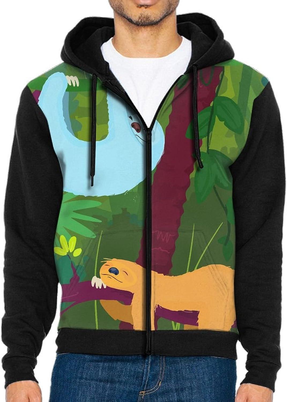 Men's Hoodie Happy Sloth Full-zip Zipper Hooded Casual Sweatshirt Jackets