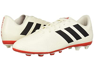 adidas Kids Nemeziz 18.4 FXG Soccer (Little Kid/Big Kid) (Off-White/Black/Active Red) Kids Shoes