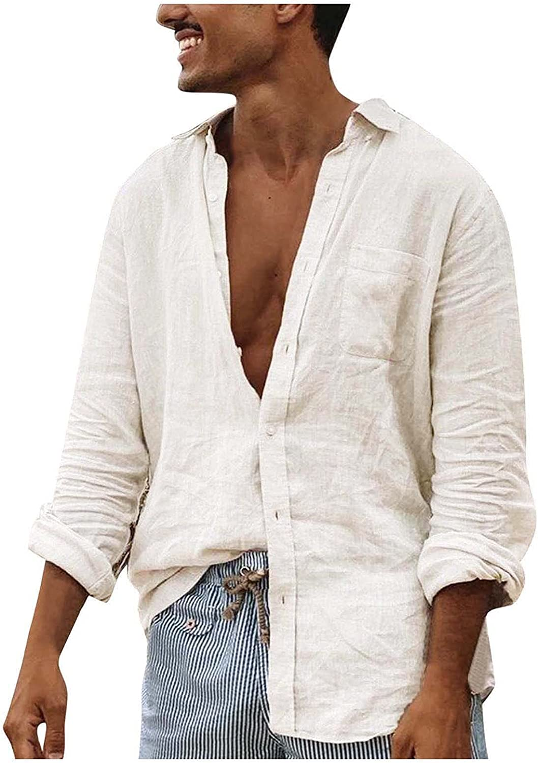 WOCACHI Cotton Linen Long Sleeve Shirts for Mens, Fall Men's Button Down Turn-Down Collar Casual Tops with Pockets