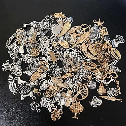 URNOFHW 50 unids Mezclado Vintage Metal Animal Aves amuletos Perlas para joyería Haciendo Bricolaje Pulsera Colgante neacklace Accesorios hallazgos (Color : Black)