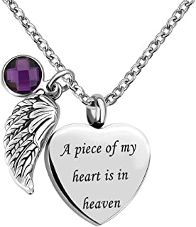 Angel Wing Charm Heart Love 12 Colors Crystal Urn Necklace for Ashes-A Piece of My Heart is in Heaven