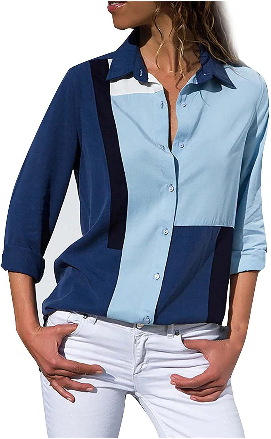 Shirts for Women Casual Chiffon Tops Trendy Striped Graphic Blouse Lapel Long Sleeve T Shirt Comfy Button Down Tees