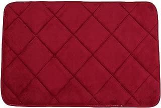uxcell Coral Fleece Bathroom Slip Resistant Washable Floor Pad Rug Carpet Doormat Burgundy
