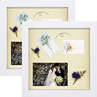 Golden State Art, 8x8 White Shadowbox Frame - Set of 2 - Sawtooth Hanger for Wall Display - Adjustable Inner Molding - Great for Weddings, Pictures, Mementos (8x8, White)