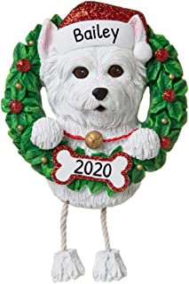 Personalized Westie Christmas Tree Ornament 2020 – Fluffy Dog Dangle Paw Santa Hat..