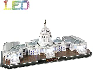 CubicFun 3D Puzzle U.S. Capitol Washington LED Architecture Gift Lighting Building Model Kits Toys for Adults, 150 Pieces