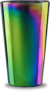 Circleware 76871 Rainbow Fusion Set of 4-16.9 oz Heavy Base Highball Drinking Glasses, Beverage Glassware for Water, Beer, Liquor, Whiskey, Bar and Decor Gifts, 4pc