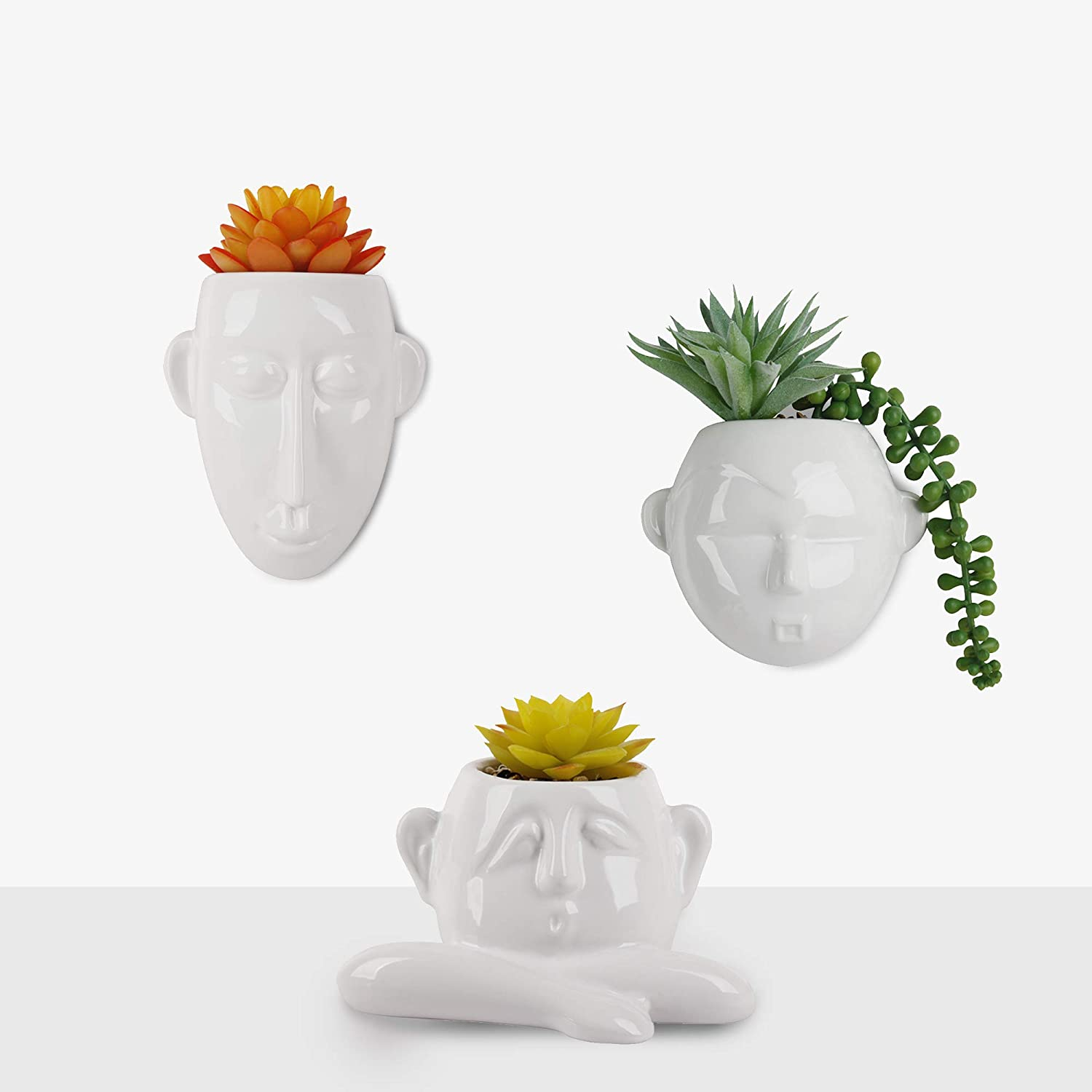 Set of 3 Artificial New sales Plants in Pot Ceramic Mounted White Ar Deluxe Wall