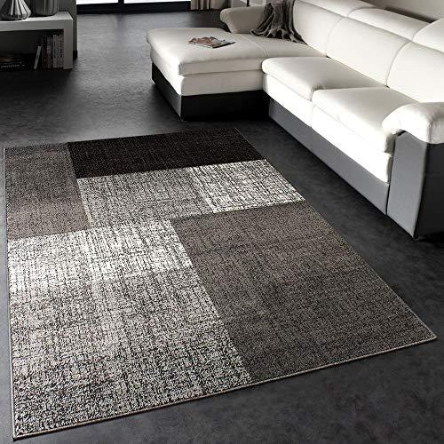 Paco Home Designer Teppich Modern Kariert Kurzflor Design Meliert In Grau Creme Braun,...