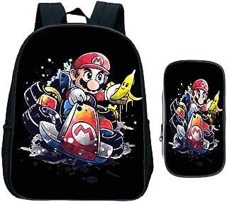 Mochila Escolar de jardín de Infantes, Niños Super Mario Smash Bros Kids Cartoon Anime Mochila Primaria Regalo, 2 Piezas Set Bookbag con Bolsa de bolígrafo