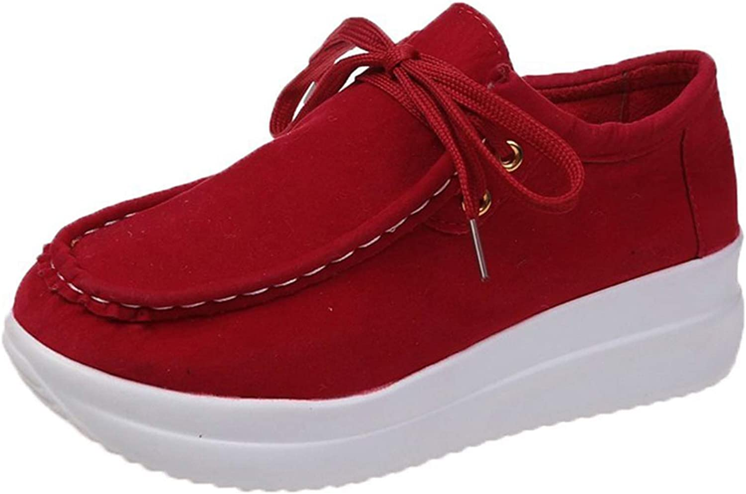 Erocalli Casual Lace up Loafers Shoes Platform Fashion Sneakers for Women Comfortable Walking Shoes Spring Tennis Shoes Red