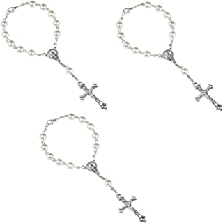 Juego de 3 cuentas de rosario de cristal de década