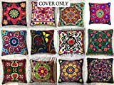 GANESHAM Indian Designer Home Decor Floral Cotton Pillow Case Bohemian Throw Pillow Cover Hand Embroidered Suzani Cushion Cover Couch Pillow (10)