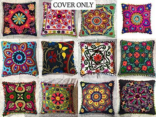 indiano Suzani designer Home Decor divano Pillow case Handmade copricuscino decorativo floreale boho chic Bohemien cuscino copertura, ricamato a mano cuscino 16 x 16 (10 pezzi)
