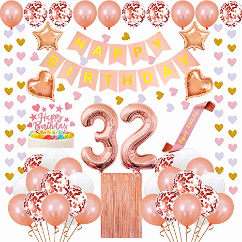 Santonila 32nd Birthday Decorations Kit-Happy Birthday Decorations Banner Cake Topper, Happy Birthday Sash, Tinsel Foil Fringe Curtains and Confetti Balloons for 32nd or 23rd Birthday Party-Rose Gold