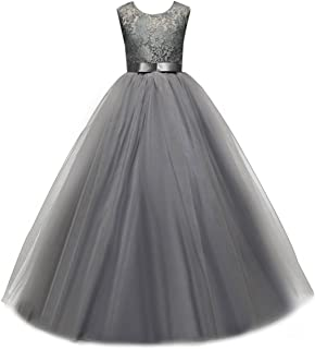 IBTOM CASTLE Big Girl Flower Lace Princess Tulle Long Dress Kids Prom Formal Pageant Dance Gown