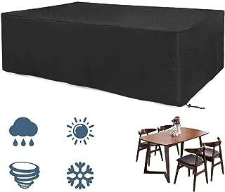 EXLECO Cubierta Muebles de Jardín 200 * 160 * 70cm Negro Funda para Muebles de Jardín Impermeable Transpirable Oxford Anti Viento Anti UV para Mesas Sillas Sofás Exterior