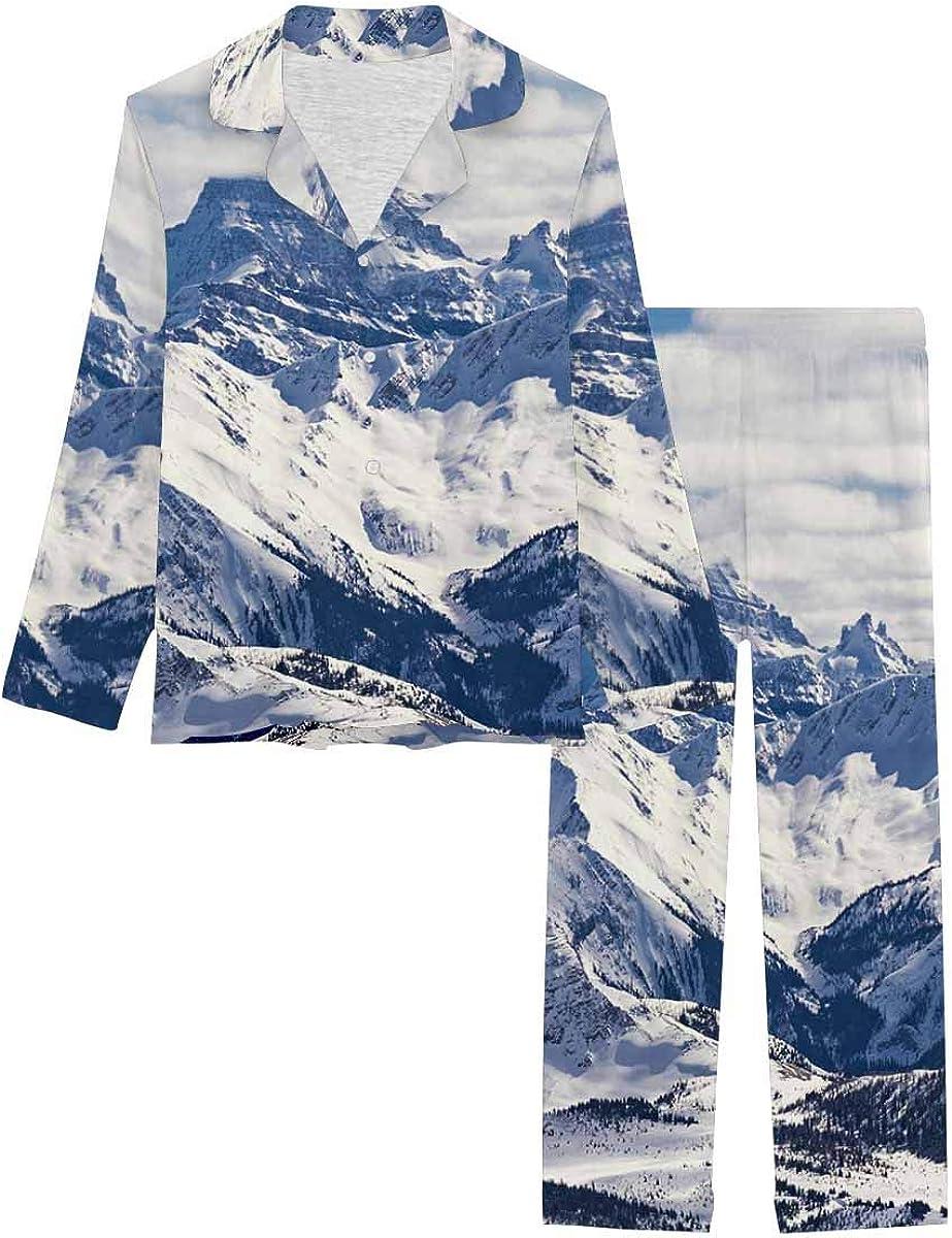InterestPrint Long Sleeve Button Down Nightwear with Long Pants Landscape Canadian Rockies Mountain