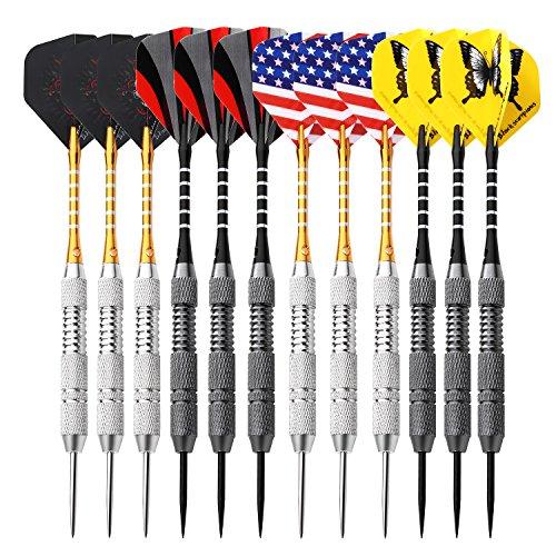 Rose Kuli Darts Steel Tip Set - 12 Pack 24 Grams Darts Brass Barrels Aluminum Shaft and Case with 4 Darts Flights
