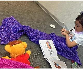 RuiWing Berinfly Mermaid Tail Blanket Knitting Handcraft for Kids, All Seasons Hand Crochet Sleeping Bag Snuggle Mermaid Blanket Bed Sofa Blanket(Purple)