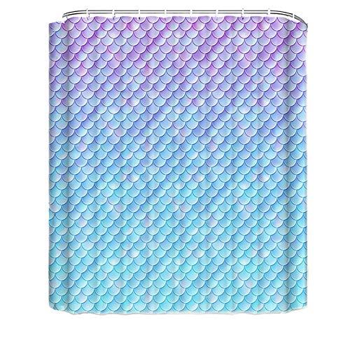 WFLJ douchegordijn, geometrisch motief, meerdere rijen, plakt niet, douchegordijn, stof, eenvoudig aan te brengen, waterdicht, geschikt voor hotel, school