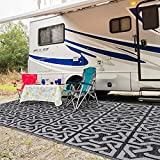 SAND MINE Reversible Mats, Plastic Straw Rug, Modern Area Rug, Large Floor Mat Rug for Outdoors, RV, Patio, Backyard, Deck, Picnic, Beach, Trailer, Camping (9' x 18', Black & Grey)